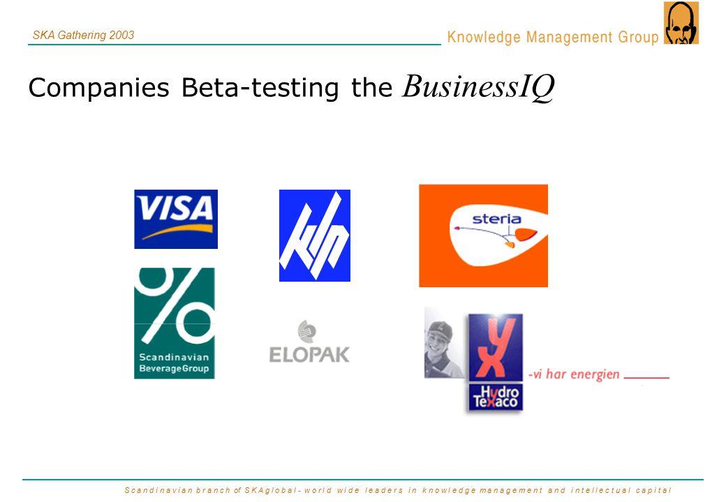 S c a n d i n a v i a n b r a n c h of S K A g l o b a l - w o r l d w i d e l e a d e r s i n k n o w l e d g e m a n a g e m e n t a n d i n t e l l e c t u a l c a p i t a l SKA Gathering 2003 Companies Beta-testing the BusinessIQ