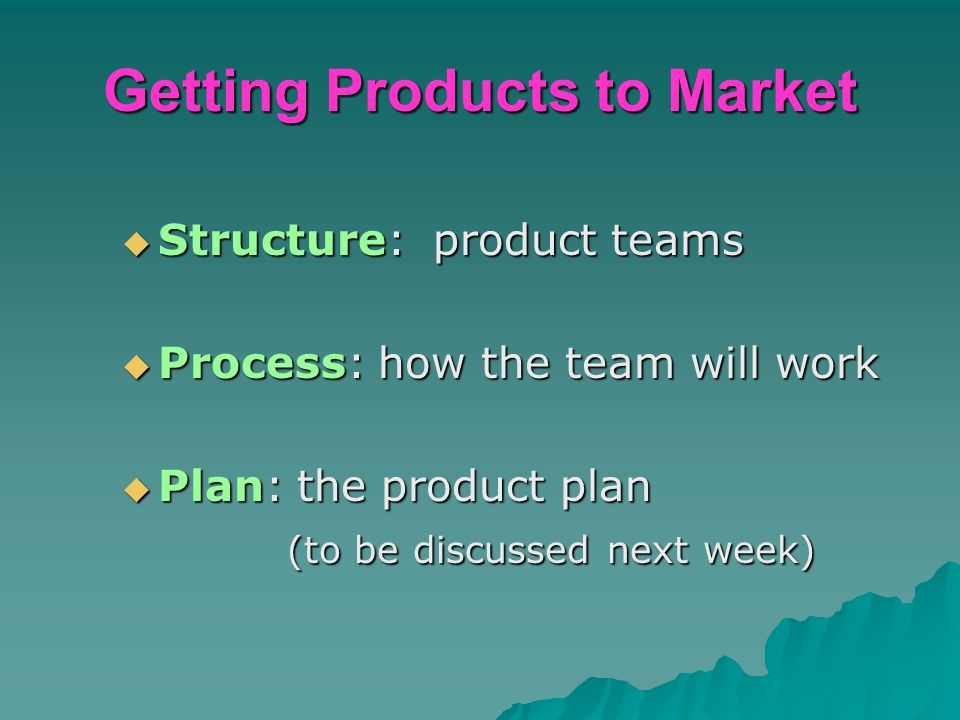 Getting Products to Market  Structure: product teams  Process: how the team will work  Plan: the product plan (to be discussed next week) (to be di