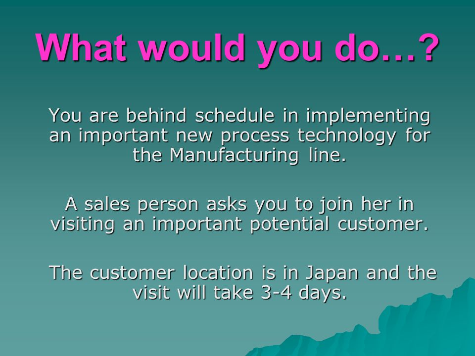 What would you do…? You are behind schedule in implementing an important new process technology for the Manufacturing line. A sales person asks you to