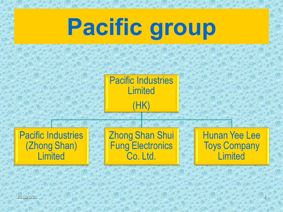 Pacific group Pacific Industries Limited (HK) Pacific Industries (Zhong Shan) Limited Zhong Shan Shui Fung Electronics Co.