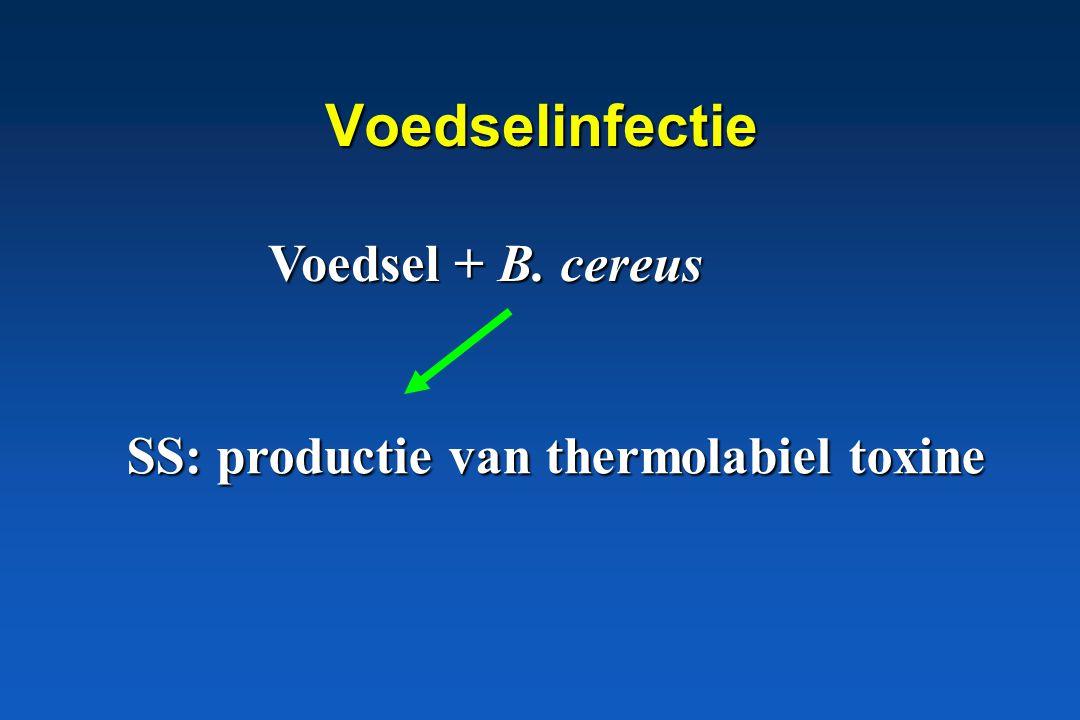 B. cereus, pathogene betekenis * Voedsel – infectie * Voedsel – intoxicatie
