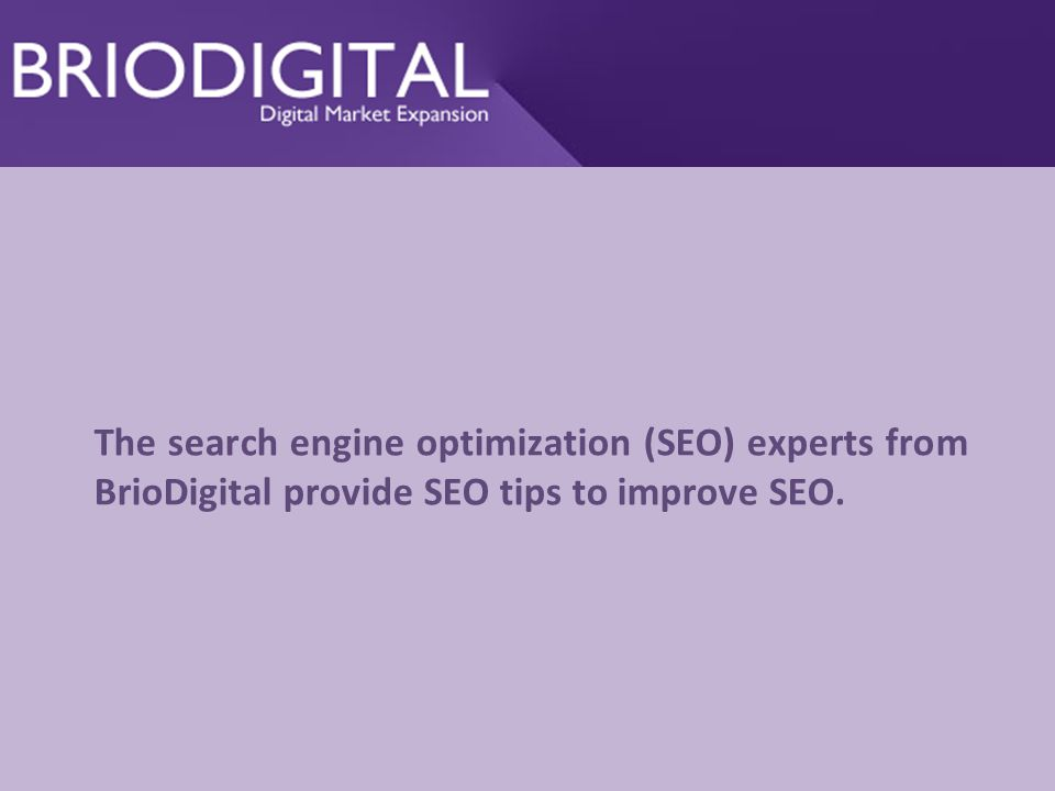 The search engine optimization (SEO) experts from BrioDigital provide SEO tips to improve SEO.