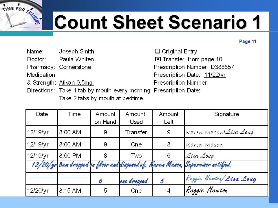 Company LOGO Count Sheet Scenario 1 Page 11 12/20/yr 8am dropped on floor and disposed of.