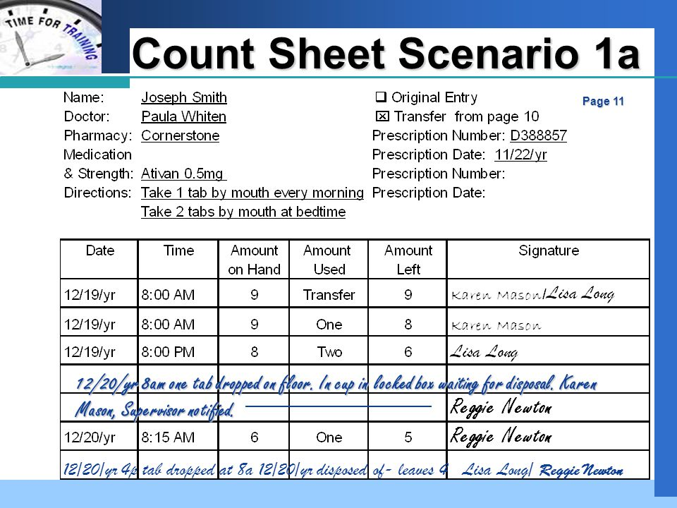 Company LOGO Count Sheet Scenario 1a Page 11 12/20/yr 8am one tab dropped on floor.