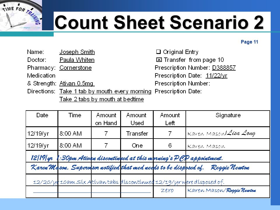 Company LOGO Count Sheet Scenario 2 Page 11 12/19/yr 1:30pm Ativan discontinued at this morning s PCP appointment.