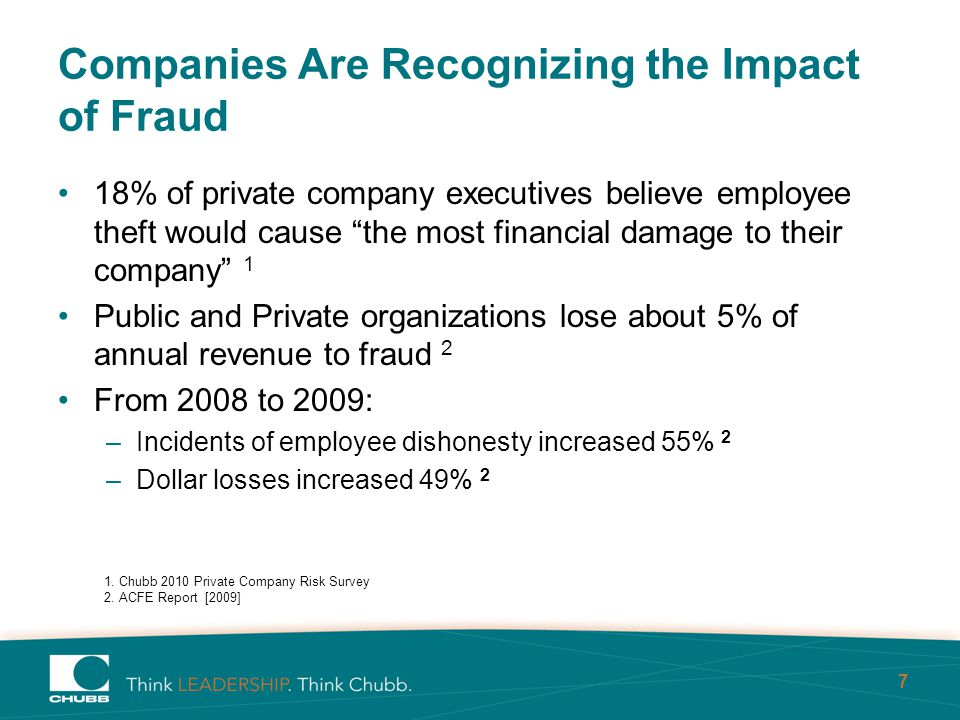 7 Companies Are Recognizing the Impact of Fraud 18% of private company executives believe employee theft would cause the most financial damage to their company 1 Public and Private organizations lose about 5% of annual revenue to fraud 2 From 2008 to 2009: –Incidents of employee dishonesty increased 55% 2 –Dollar losses increased 49% 2 1.