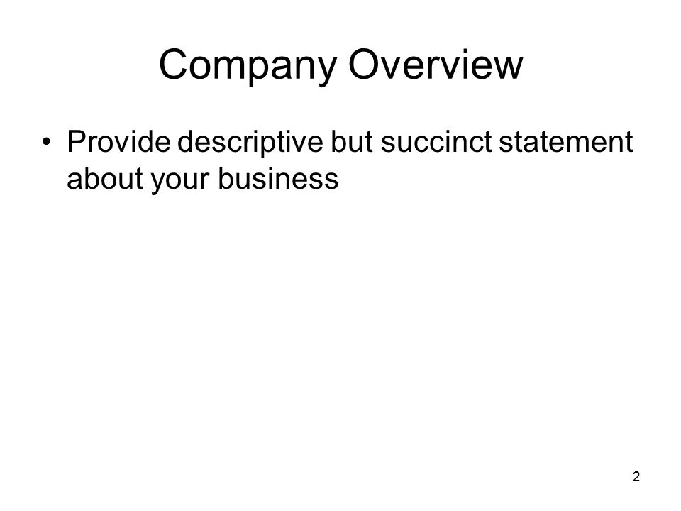 2 Company Overview Provide descriptive but succinct statement about your business