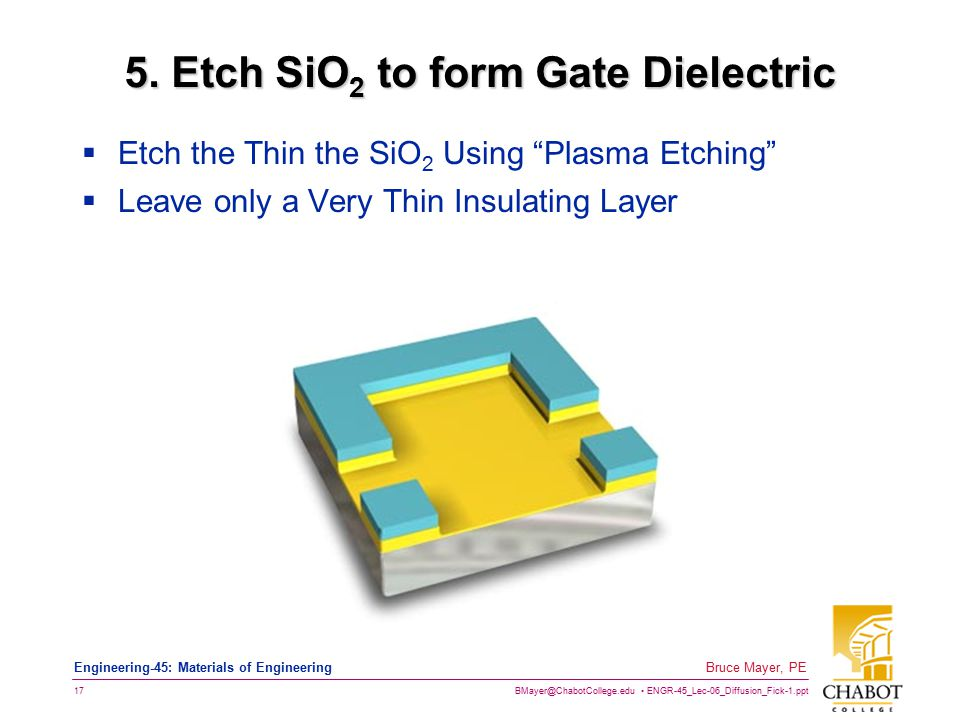 BMayer@ChabotCollege.edu ENGR-45_Lec-06_Diffusion_Fick-1.ppt 17 Bruce Mayer, PE Engineering-45: Materials of Engineering 5. Etch SiO 2 to form Gate Di