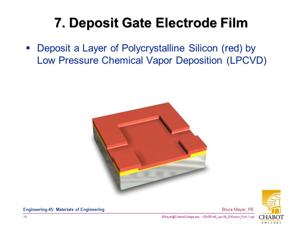 BMayer@ChabotCollege.edu ENGR-45_Lec-06_Diffusion_Fick-1.ppt 19 Bruce Mayer, PE Engineering-45: Materials of Engineering 7. Deposit Gate Electrode Fil