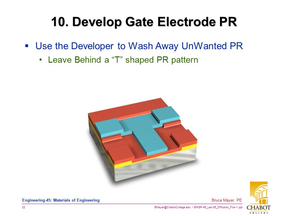 BMayer@ChabotCollege.edu ENGR-45_Lec-06_Diffusion_Fick-1.ppt 22 Bruce Mayer, PE Engineering-45: Materials of Engineering 10. Develop Gate Electrode PR