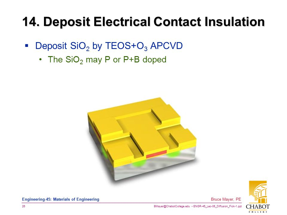 BMayer@ChabotCollege.edu ENGR-45_Lec-06_Diffusion_Fick-1.ppt 26 Bruce Mayer, PE Engineering-45: Materials of Engineering 14. Deposit Electrical Contac