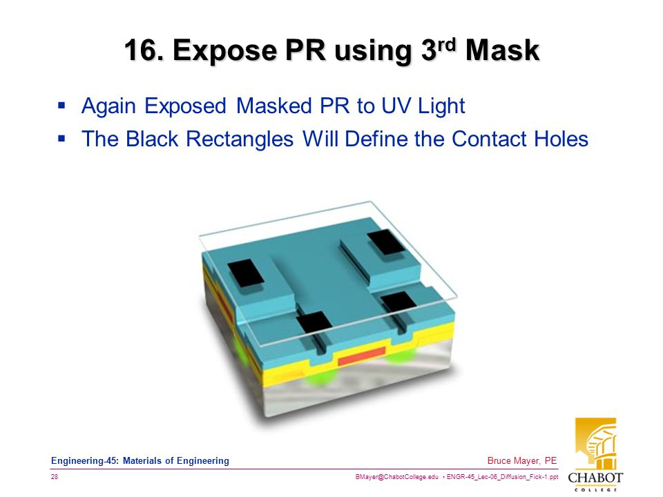 BMayer@ChabotCollege.edu ENGR-45_Lec-06_Diffusion_Fick-1.ppt 28 Bruce Mayer, PE Engineering-45: Materials of Engineering 16. Expose PR using 3 rd Mask