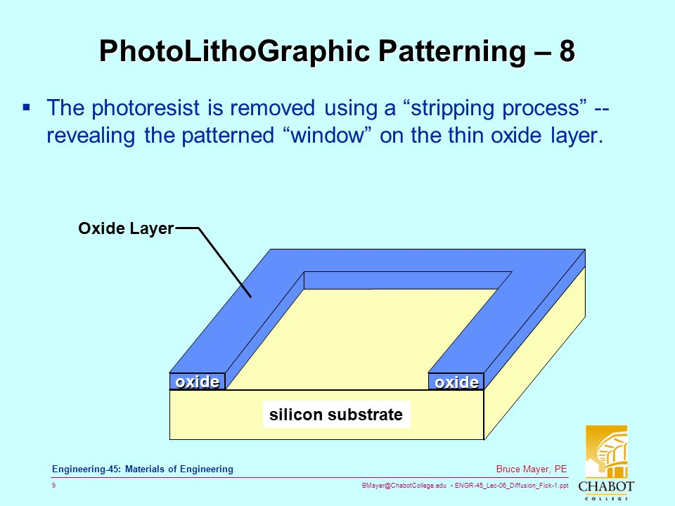 BMayer@ChabotCollege.edu ENGR-45_Lec-06_Diffusion_Fick-1.ppt 9 Bruce Mayer, PE Engineering-45: Materials of Engineering PhotoLithoGraphic Patterning – 8  The photoresist is removed using a stripping process -- revealing the patterned window on the thin oxide layer.