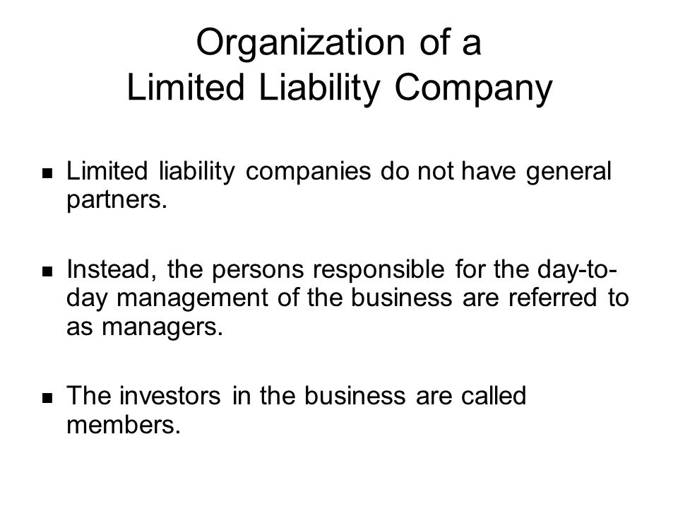 IRS Entity Classifications (con't) Are there provisions that provide limited liability for managers and members.