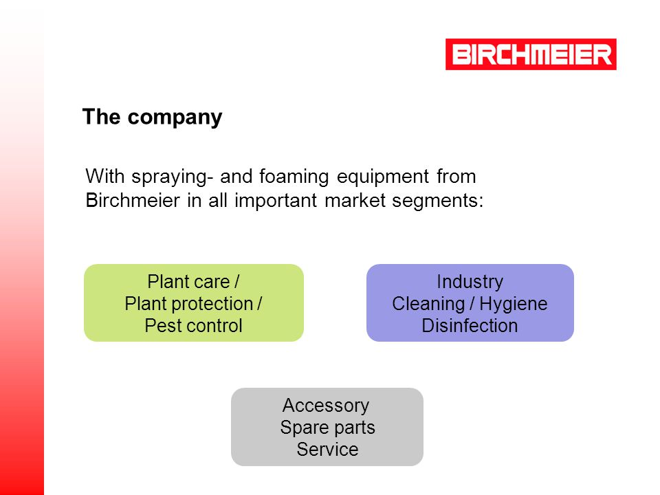 Plant care / Plant protection / Pest control Industry Cleaning / Hygiene Disinfection Accessory Spare parts Service With spraying- and foaming equipment from Birchmeier in all important market segments: The company