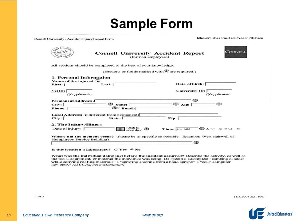 Education s Own Insurance Companywww.ue.org18 Sample Form
