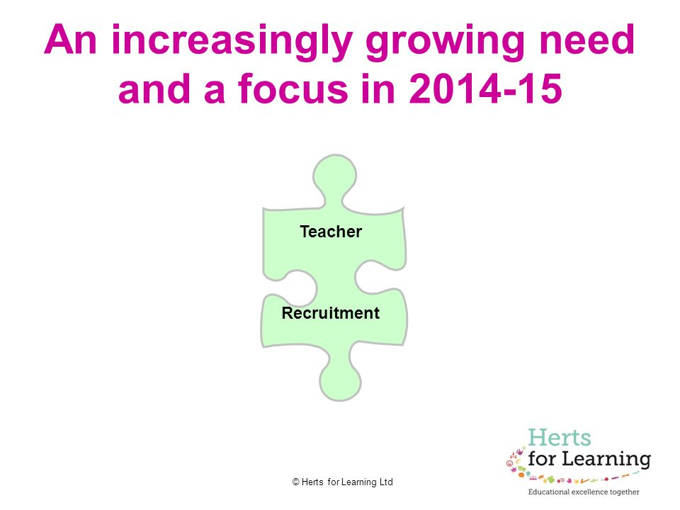 © Herts for Learning Ltd An increasingly growing need and a focus in 2014-15 Teacher Recruitment