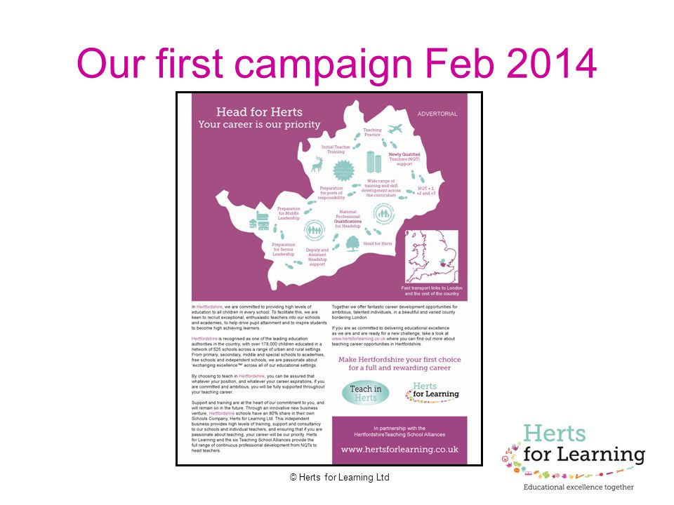© Herts for Learning Ltd Our first campaign Feb 2014
