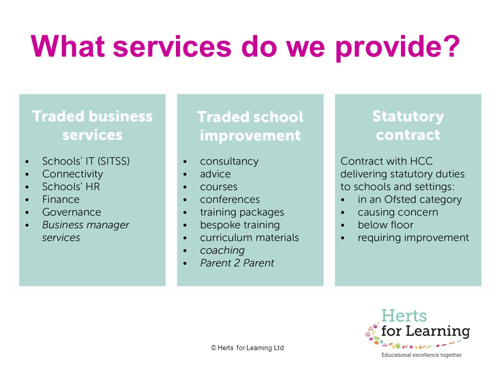 © Herts for Learning Ltd What services do we provide