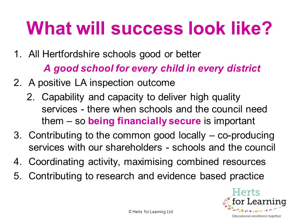 © Herts for Learning Ltd What will success look like? 1.All Hertfordshire schools good or better A good school for every child in every district 2.A p