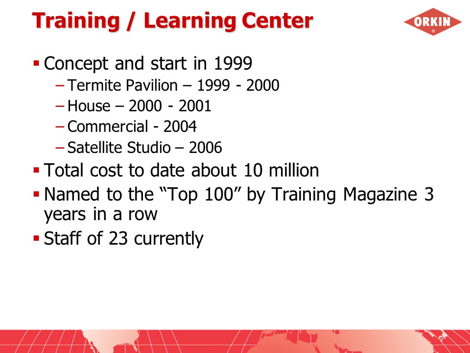 Training / Learning Center  Concept and start in 1999 –Termite Pavilion – 1999 - 2000 –House – 2000 - 2001 –Commercial - 2004 –Satellite Studio – 2006  Total cost to date about 10 million  Named to the Top 100 by Training Magazine 3 years in a row  Staff of 23 currently