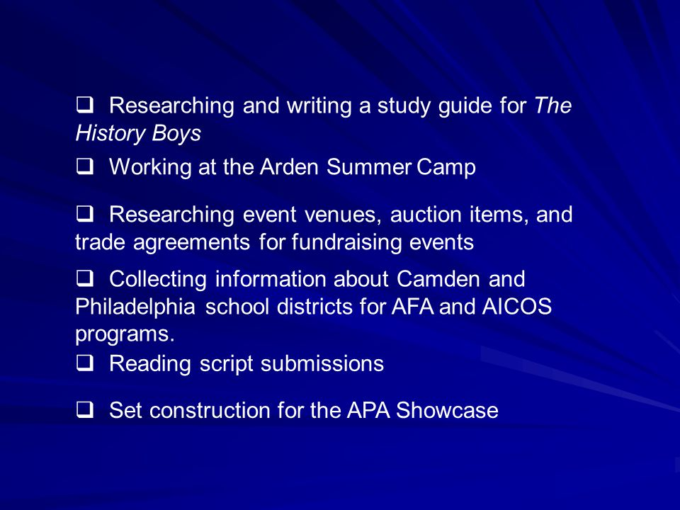  Researching and writing a study guide for The History Boys  Working at the Arden Summer Camp  Researching event venues, auction items, and trade agreements for fundraising events  Collecting information about Camden and Philadelphia school districts for AFA and AICOS programs.