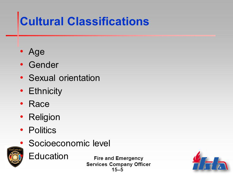 Fire and Emergency Services Company Officer 15–5 Cultural Classifications Age Gender Sexual orientation Ethnicity Race Religion Politics Socioeconomic level Education