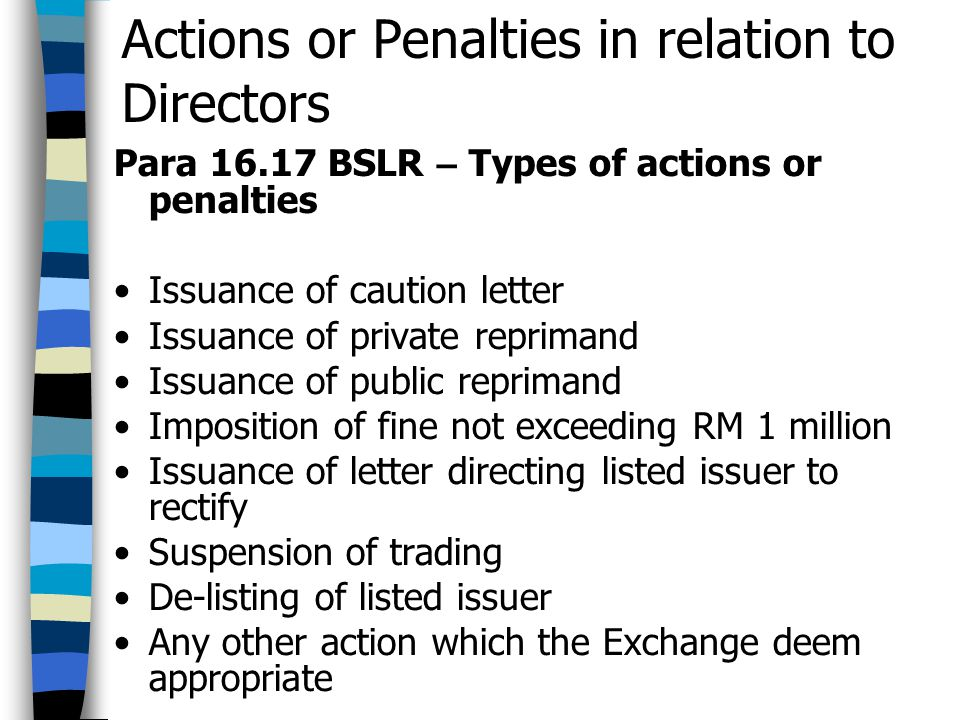 Actions or Penalties in relation to Directors Para 16.17 BSLR – Types of actions or penalties Issuance of caution letter Issuance of private reprimand