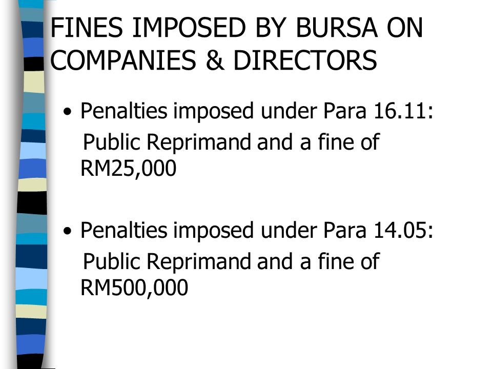 FINES IMPOSED BY BURSA ON COMPANIES & DIRECTORS Penalties imposed under Para 16.11: Public Reprimand and a fine of RM25,000 Penalties imposed under Pa