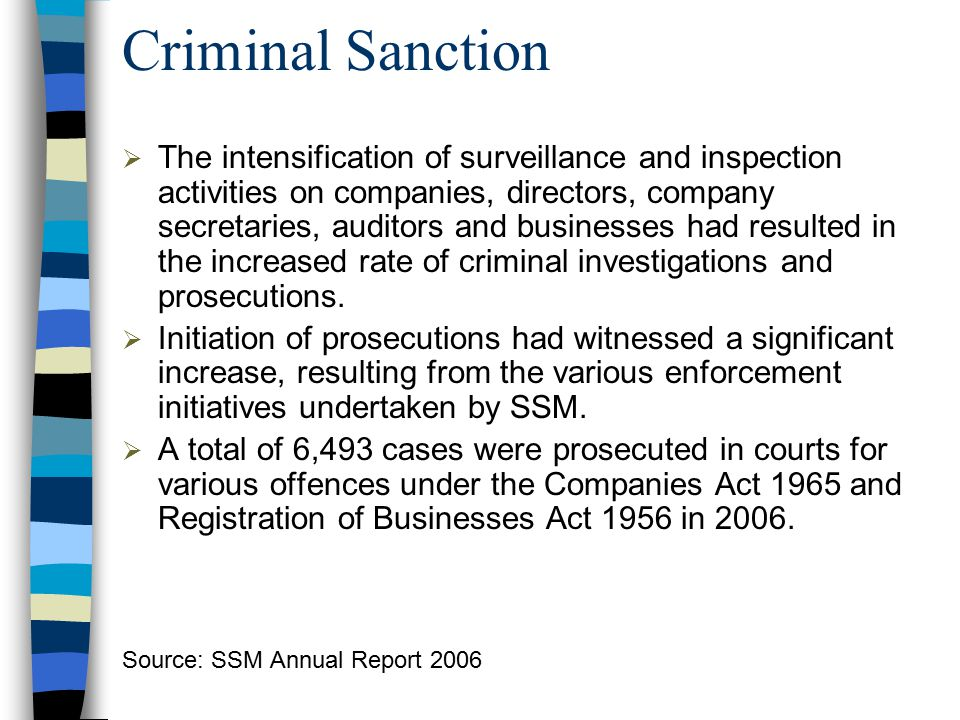 Criminal Sanction  The intensification of surveillance and inspection activities on companies, directors, company secretaries, auditors and businesse