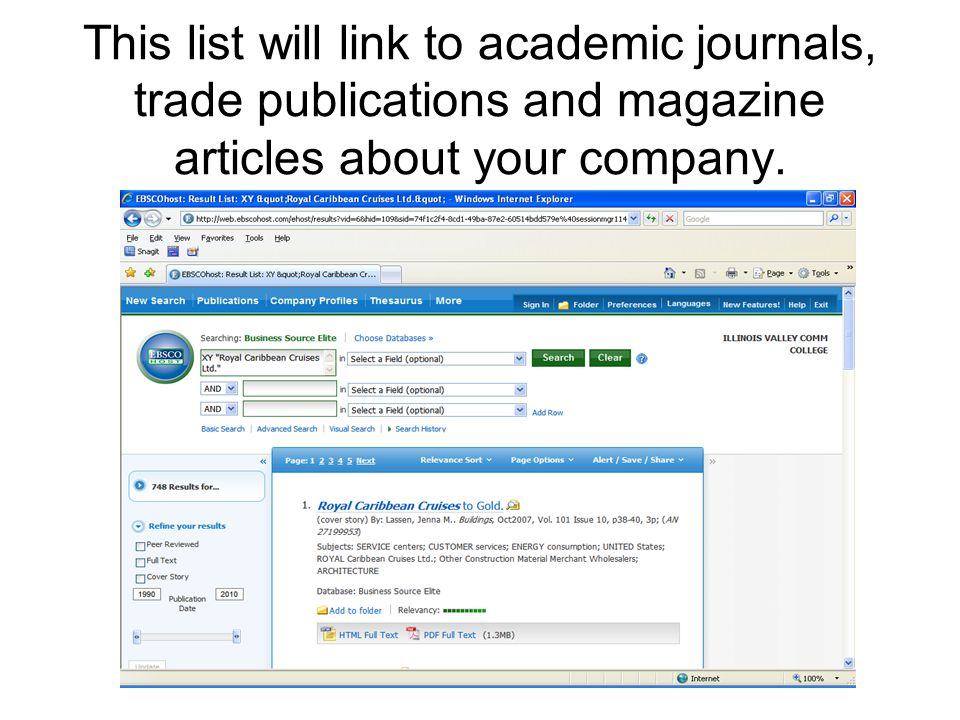 This list will link to academic journals, trade publications and magazine articles about your company.