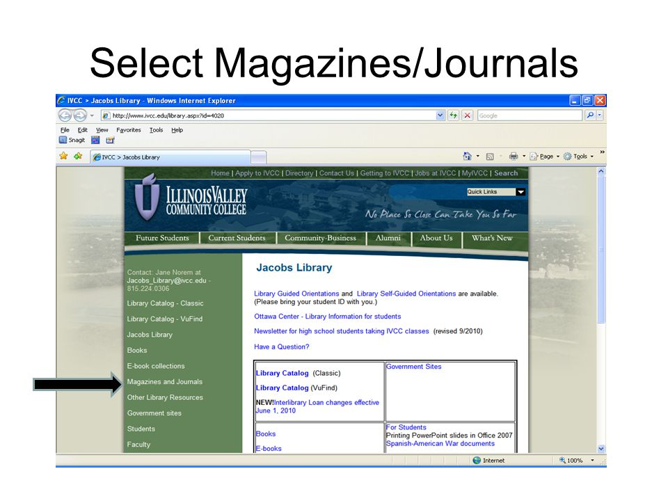 Select Magazines/Journals