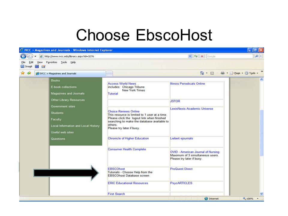 Choose EbscoHost