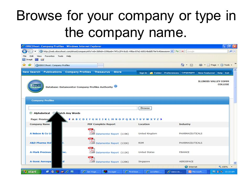 Browse for your company or type in the company name.