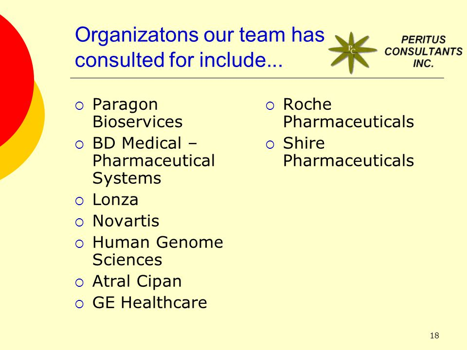 18 Organizatons our team has consulted for include...