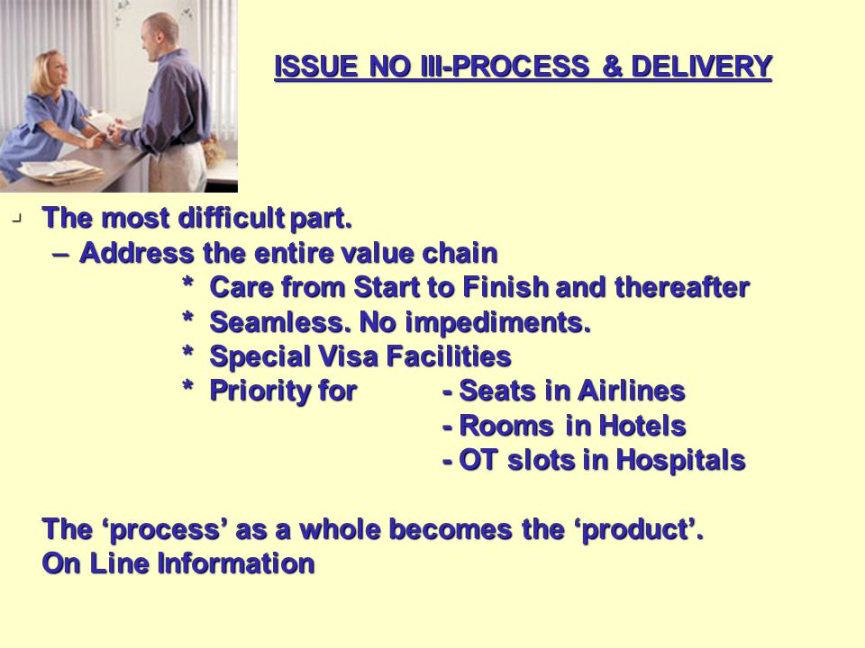 ISSUE NO III-PROCESS & DELIVERY  The most difficult part.