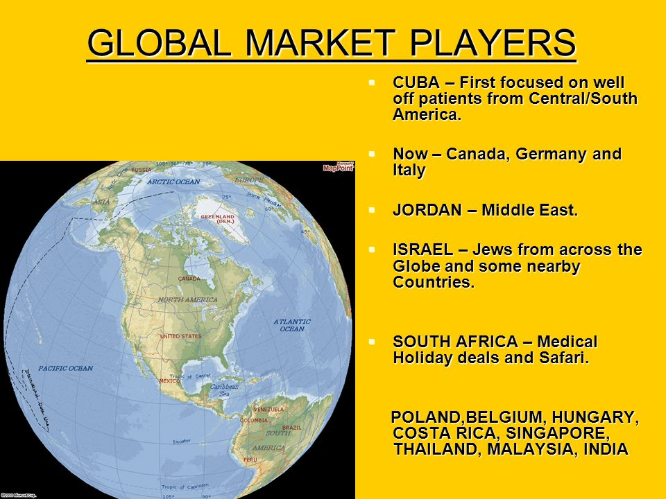 GLOBAL MARKET PLAYERS  CUBA – First focused on well off patients from Central/South America.