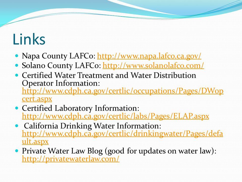 Links Napa County LAFCo: http://www.napa.lafco.ca.gov/http://www.napa.lafco.ca.gov/ Solano County LAFCo: http://www.solanolafco.com/http://www.solanol
