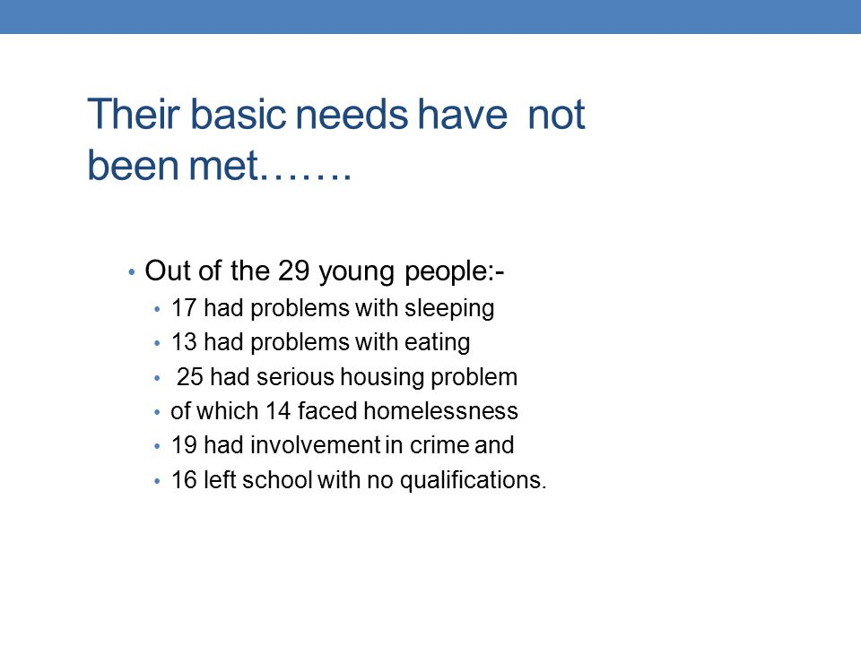 Their basic needs have not been met…….