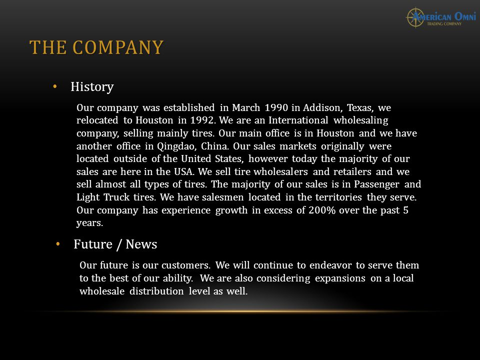 THE COMPANY History Our company was established in March 1990 in Addison, Texas, we relocated to Houston in 1992.