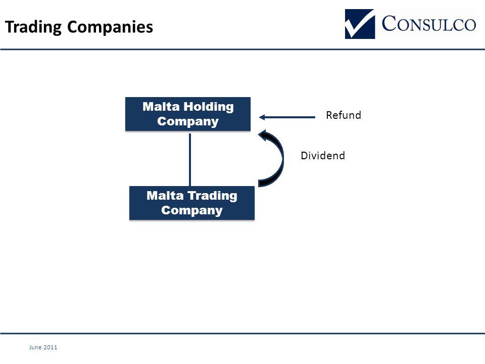 June 2011 Trading Companies Refund Dividend Malta Holding Company Malta Trading Company
