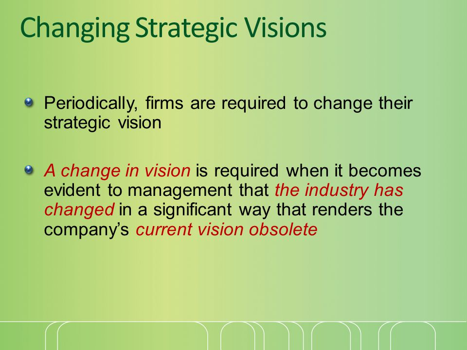 Changing Strategic Visions Periodically, firms are required to change their strategic vision A change in vision is required when it becomes evident to management that the industry has changed in a significant way that renders the company's current vision obsolete