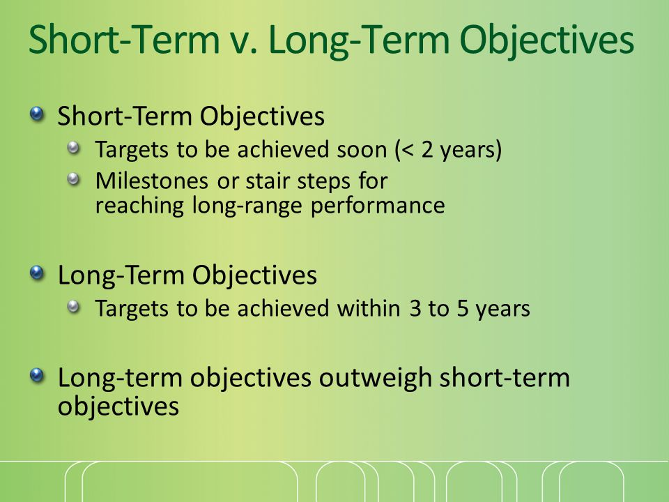 Short-Term v. Long-Term Objectives Short-Term Objectives Targets to be achieved soon (< 2 years) Milestones or stair steps for reaching long-range per
