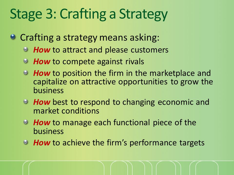 Stage 3: Crafting a Strategy Crafting a strategy means asking: How to attract and please customers How to compete against rivals How to position the firm in the marketplace and capitalize on attractive opportunities to grow the business How best to respond to changing economic and market conditions How to manage each functional piece of the business How to achieve the firm's performance targets