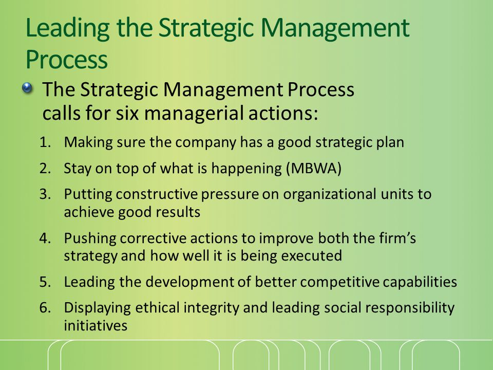 Leading the Strategic Management Process The Strategic Management Process calls for six managerial actions: 1.Making sure the company has a good strategic plan 2.Stay on top of what is happening (MBWA) 3.Putting constructive pressure on organizational units to achieve good results 4.Pushing corrective actions to improve both the firm's strategy and how well it is being executed 5.Leading the development of better competitive capabilities 6.Displaying ethical integrity and leading social responsibility initiatives
