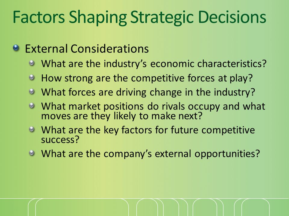 Factors Shaping Strategic Decisions External Considerations What are the industry's economic characteristics.