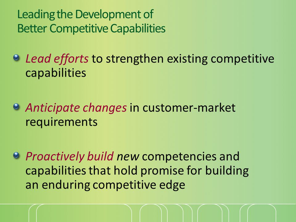 Leading the Development of Better Competitive Capabilities Lead efforts to strengthen existing competitive capabilities Anticipate changes in customer-market requirements Proactively build new competencies and capabilities that hold promise for building an enduring competitive edge