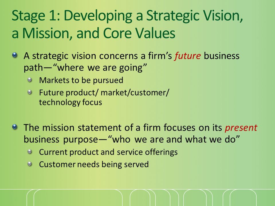 Stage 1: Developing a Strategic Vision, a Mission, and Core Values A strategic vision concerns a firm's future business path— where we are going Markets to be pursued Future product/ market/customer/ technology focus The mission statement of a firm focuses on its present business purpose— who we are and what we do Current product and service offerings Customer needs being served