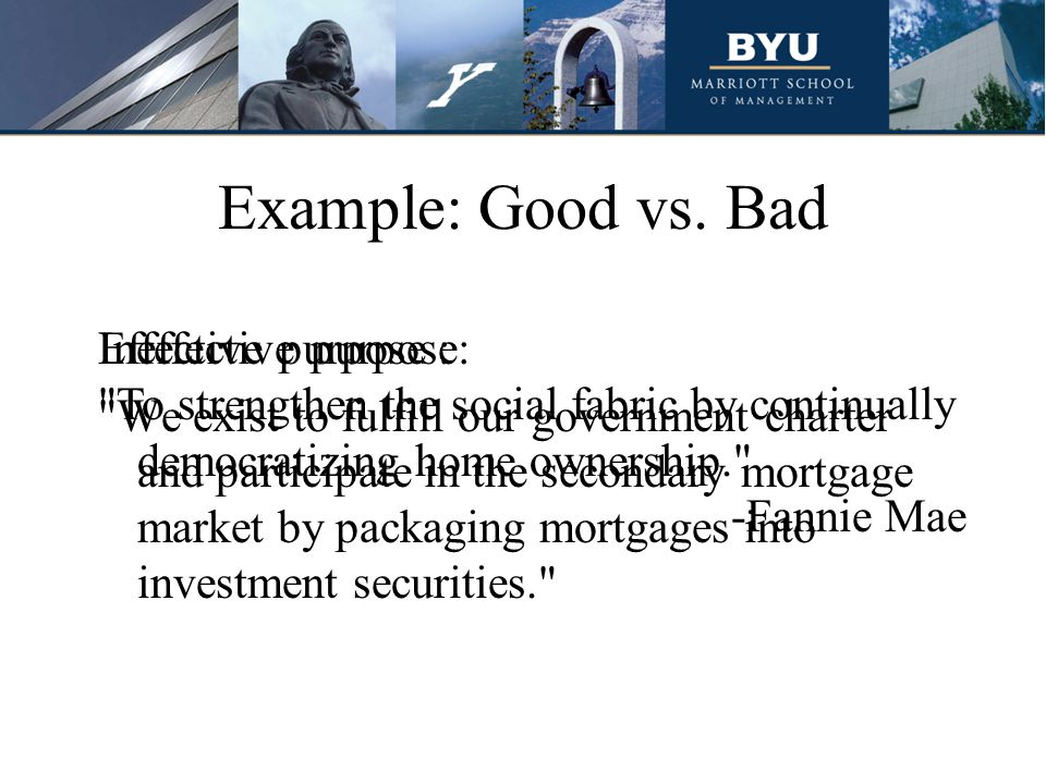 Example: Good vs. Bad Ineffective purpose: