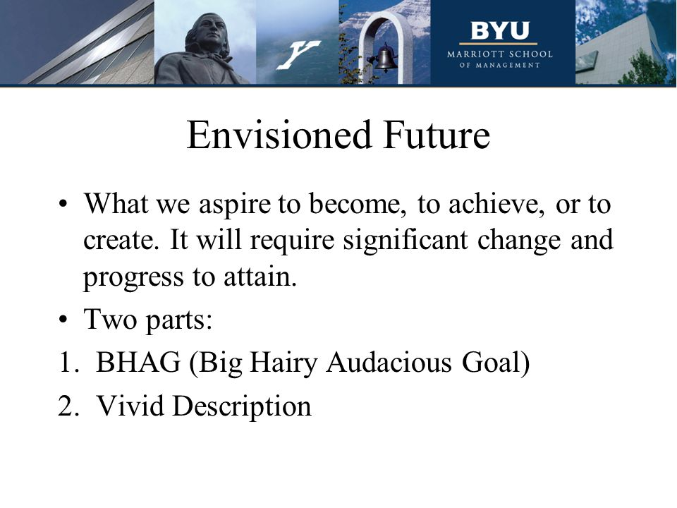 Envisioned Future What we aspire to become, to achieve, or to create.